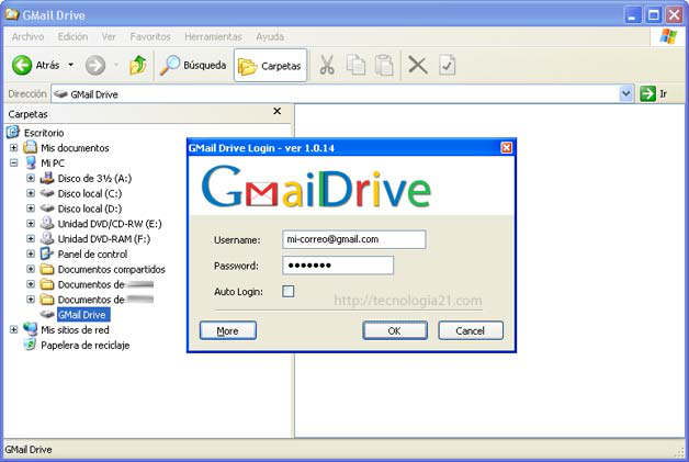 Ingresando a GMail Drive desde MI PC