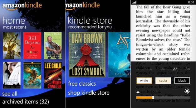 amazon kindle windows phone 7