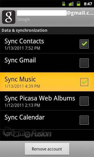 google music sync gingerbread