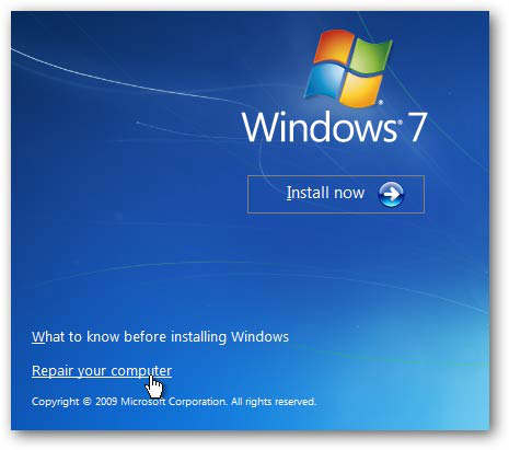 Reparar arranque de Windows 7
