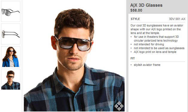 armani exchange 3d glasses