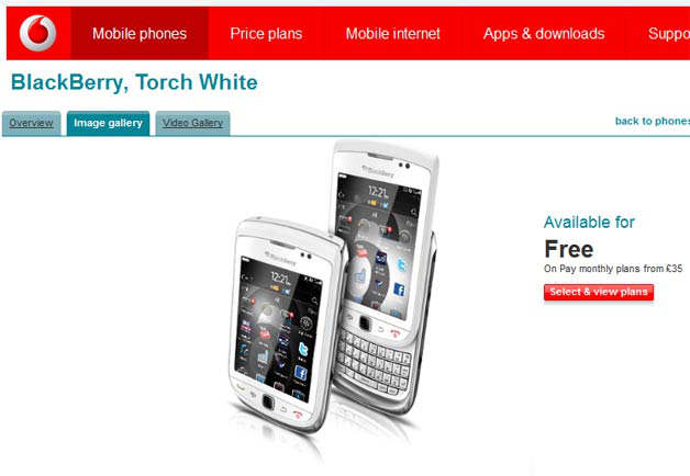 blackberry torch white vodafone