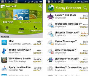 sony ericsson canal android market