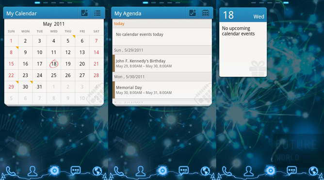 android calendar gowidget