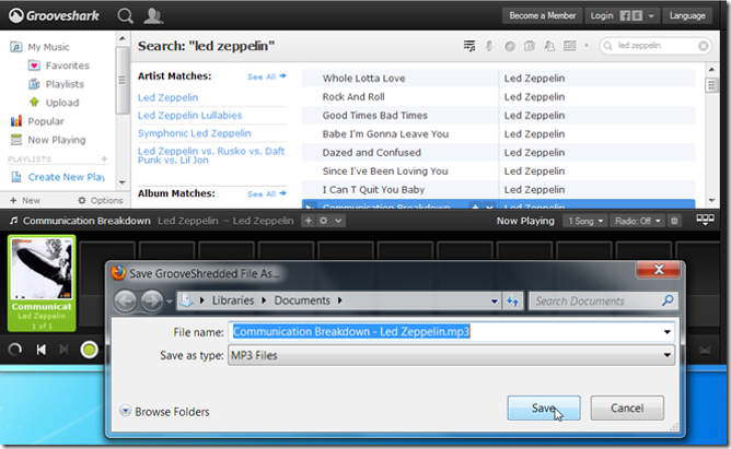 grooveshredder extension addon firefox grooveshark descargar mp3