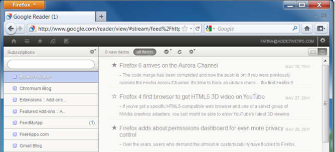 pure reader rss firefox extension addon