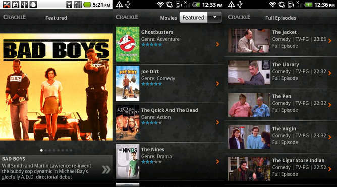 crackle android peliculas series tv gratis streaming