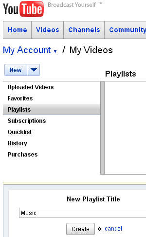 crear listas de reproduccion youtube playlists