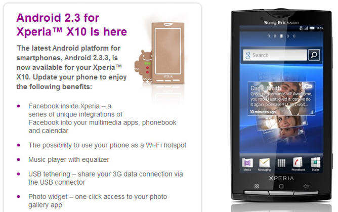 android gingerbread xperia x10