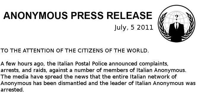 anonymous italia comunicado prensa