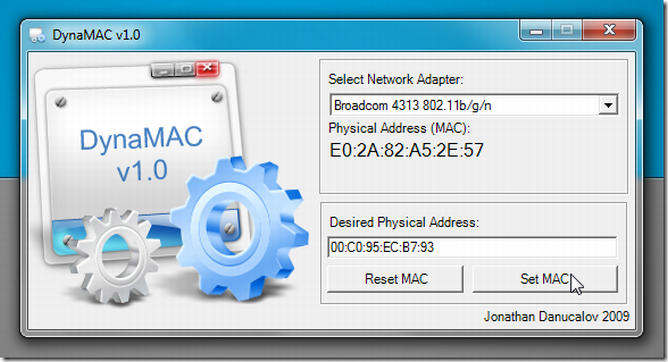 dynamac cambiar mac address