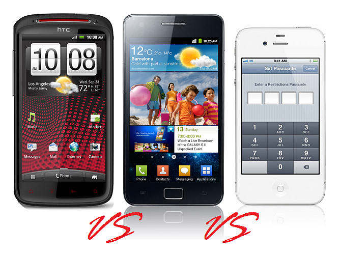 htc sensation xe vs samsung galaxy s ii vs apple iphone 4s