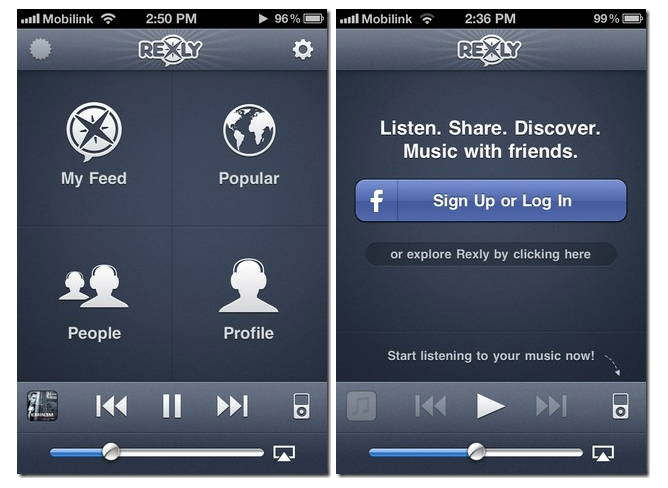 rexly iphone compartir now playing facebook twitter