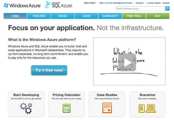 windows azure, web oficinal