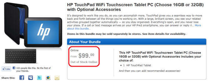 hp touchpad 100 dollars dolares webos