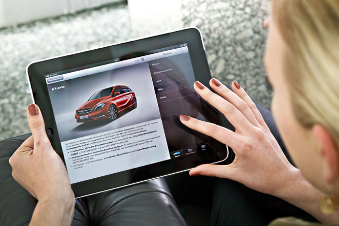 mercedes benz en un ipad