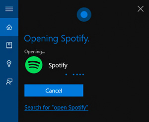open-spotify-cortana
