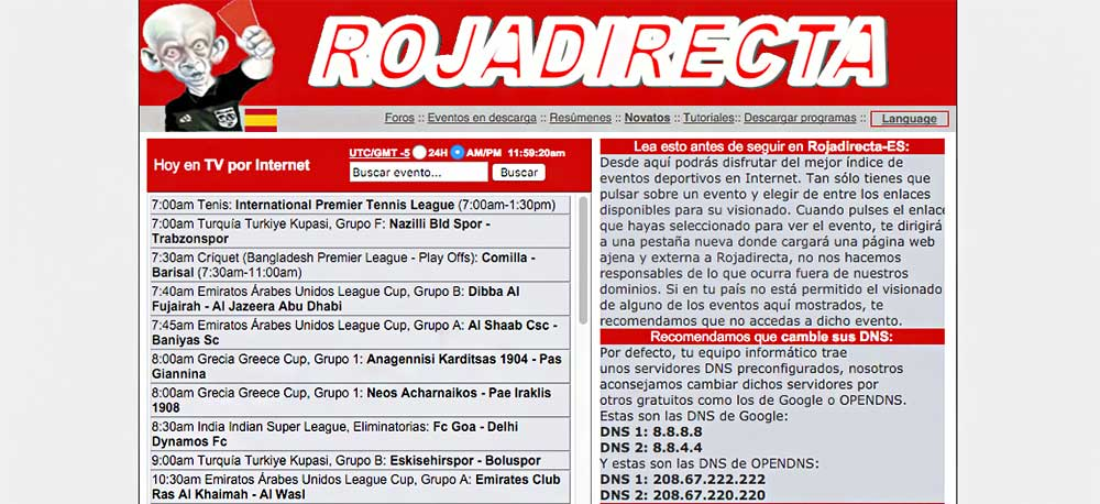 Rojadirecta vuelve estar online con Rojadirectaes