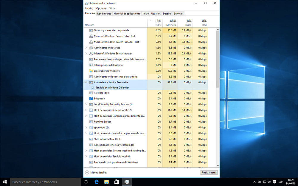 "Desactivar ""Antimalware Service Executable"" en Windows 10"