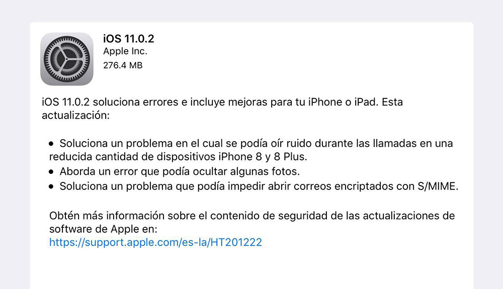 Apple: iOS 11.0.2 ya está disponible