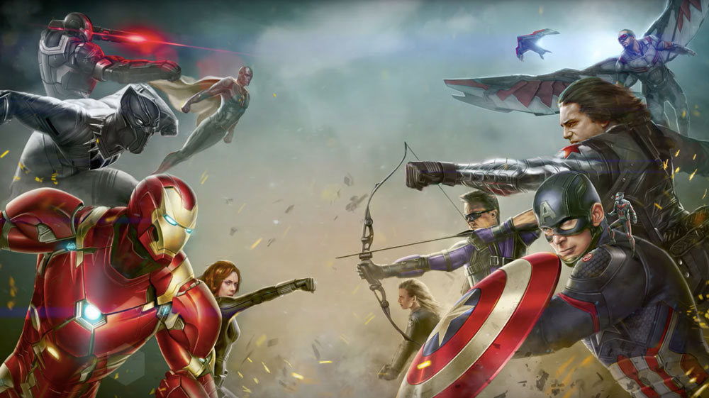 Ilustración de Capitán América: Civil War de Mike Thompson